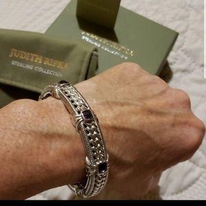 Judith Rioka Amethyst Hinged Cuff Bracelet .925